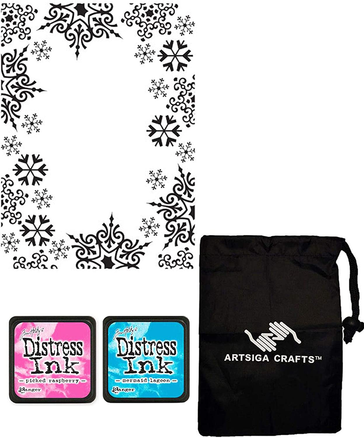 Darice DIY Embossing Folders for Card Making Snowflake Trim 4.25 x 5.75 inches 1219-135 Bundle with 2 Tim Holtz Distressed Ink Mini Pads and 1 Artsiga Crafts Small Bag