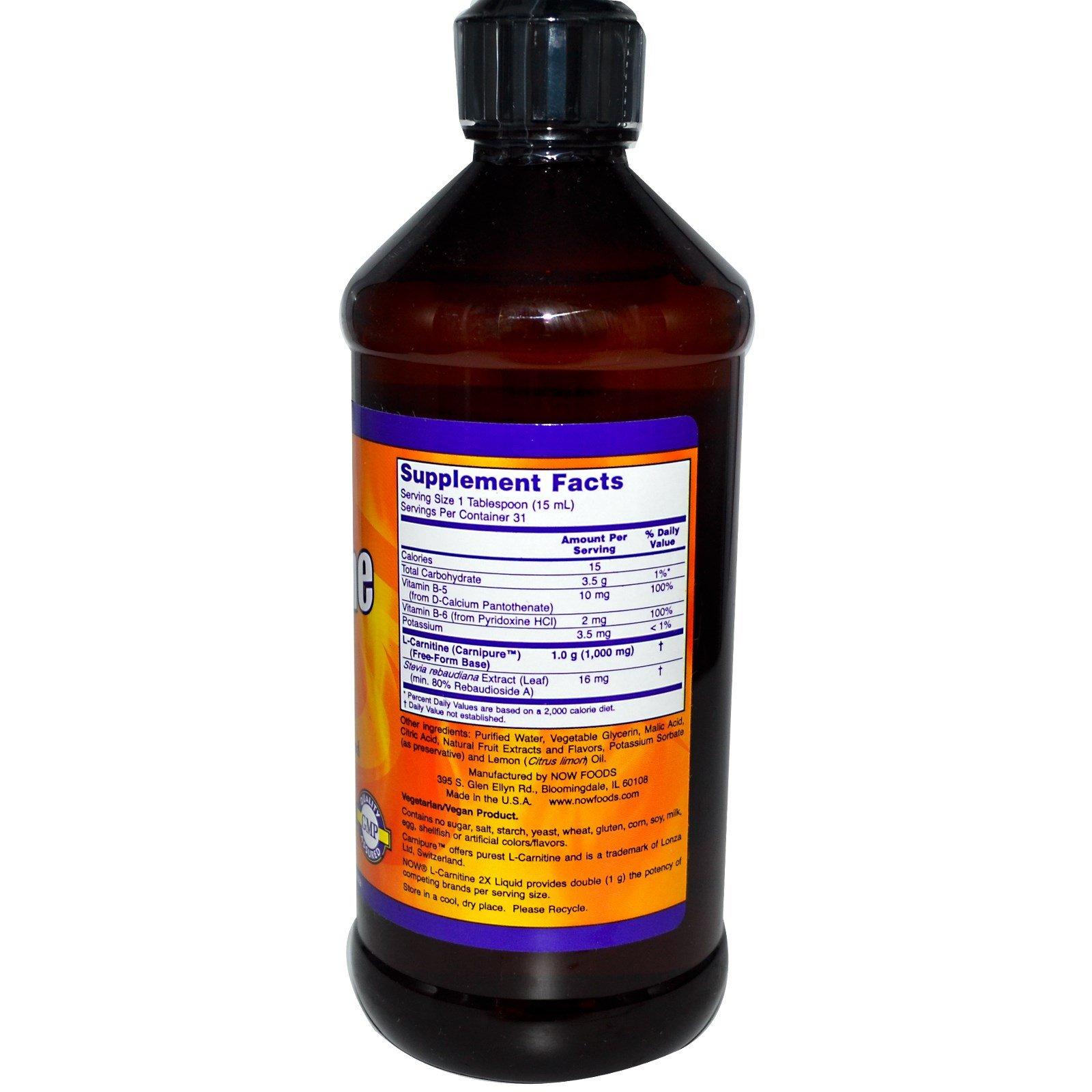 NOW Foods L-Carnitine Liquid, Citrus Flavor 1000 mg - 16 oz.