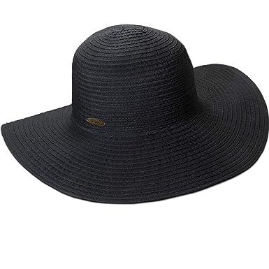 "2591d7bb7ac89e Panama Jack Women's Ribbon Floppy Packable Sun Hat, 4"" Big Brim (Black,"