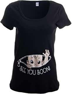 1471e8adc50b8 Maternity Baby Peeking T Shirt Funny Pregnancy Tee for Expecting ...