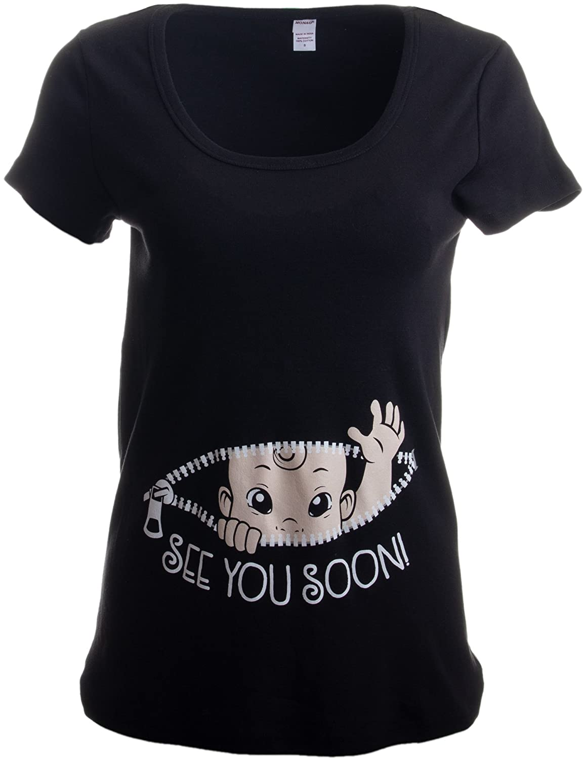 See You Soon! | Cute Funny Maternity Pregnancy Baby Scoop Neck Top T-Shirt for Pregnant Women