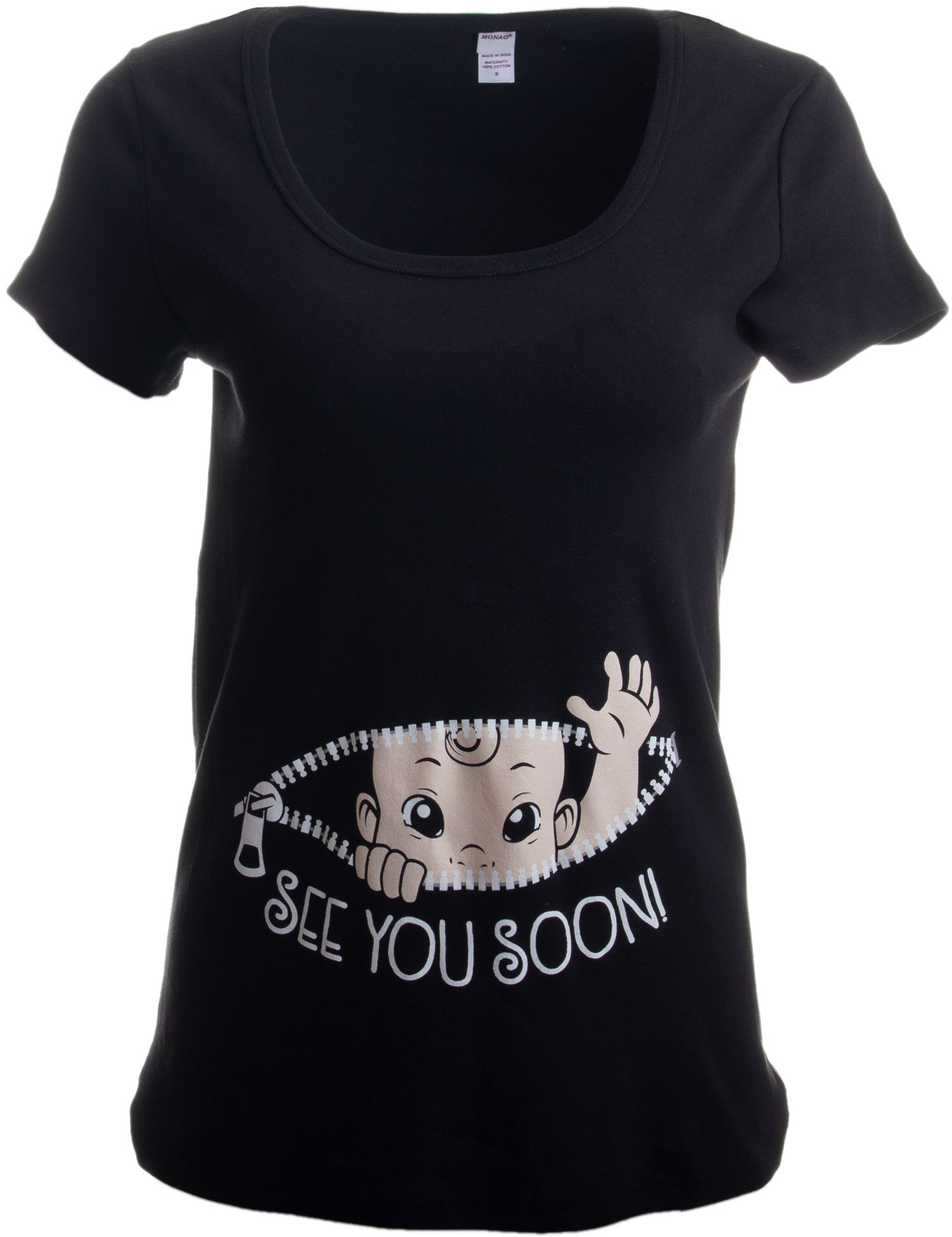 568e87c20 Cute Funny Maternity Pregnancy Baby Scoop Neck Top T-Shirt for Pregnant  Women-(Matern, S) Black