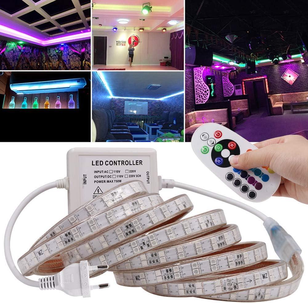 con alimentatore 3m 120 Leds//M illuminazione per interni SMD 5050 impermeabili IP67 Xunata AC 220 V 240 V telecomando a 24 pulsanti Kit di strisce LED RGB