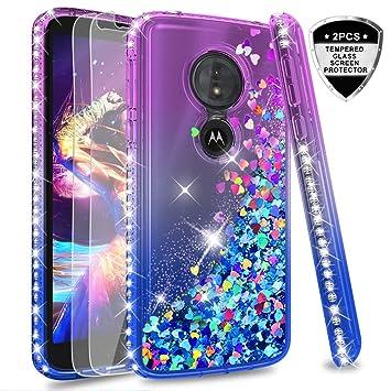 LeYi Funda Motorola Moto G6 Play / E5 Silicona Purpurina Carcasa con [2-Unidades Cristal Vidrio Templado],Transparente Cristal Bumper Fundas Case ...