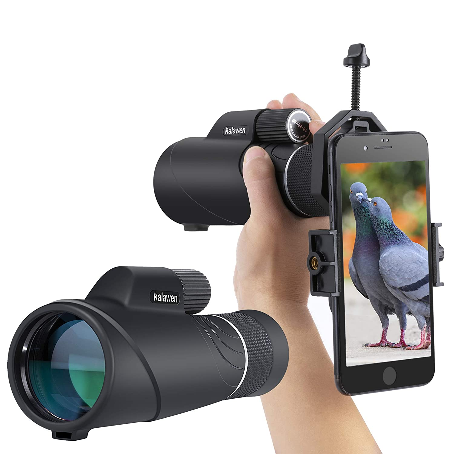 2019 Upgraded 10-20×50 Kalawen Zoom Monocular Telescope Compact with Smartphone Holder and Tripod, Waterproof Monocular with BAK4 Prism Scope for Bird Watching Hunting Camping Shooting Range Hiking