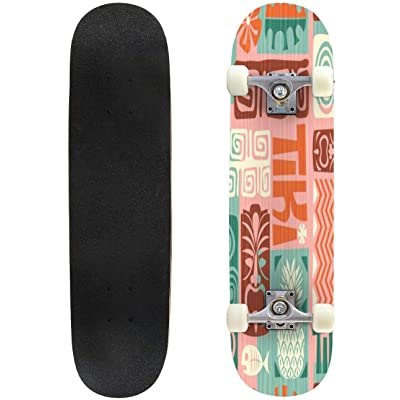 31 inch Skateboard seamless retro exotic tiki pattern vector illustration fruit Complete Longboard Standard Skate board Double Kick Tricks Skateboards for Kids Boys Girls Youths Beginners : Sports & Outdoors