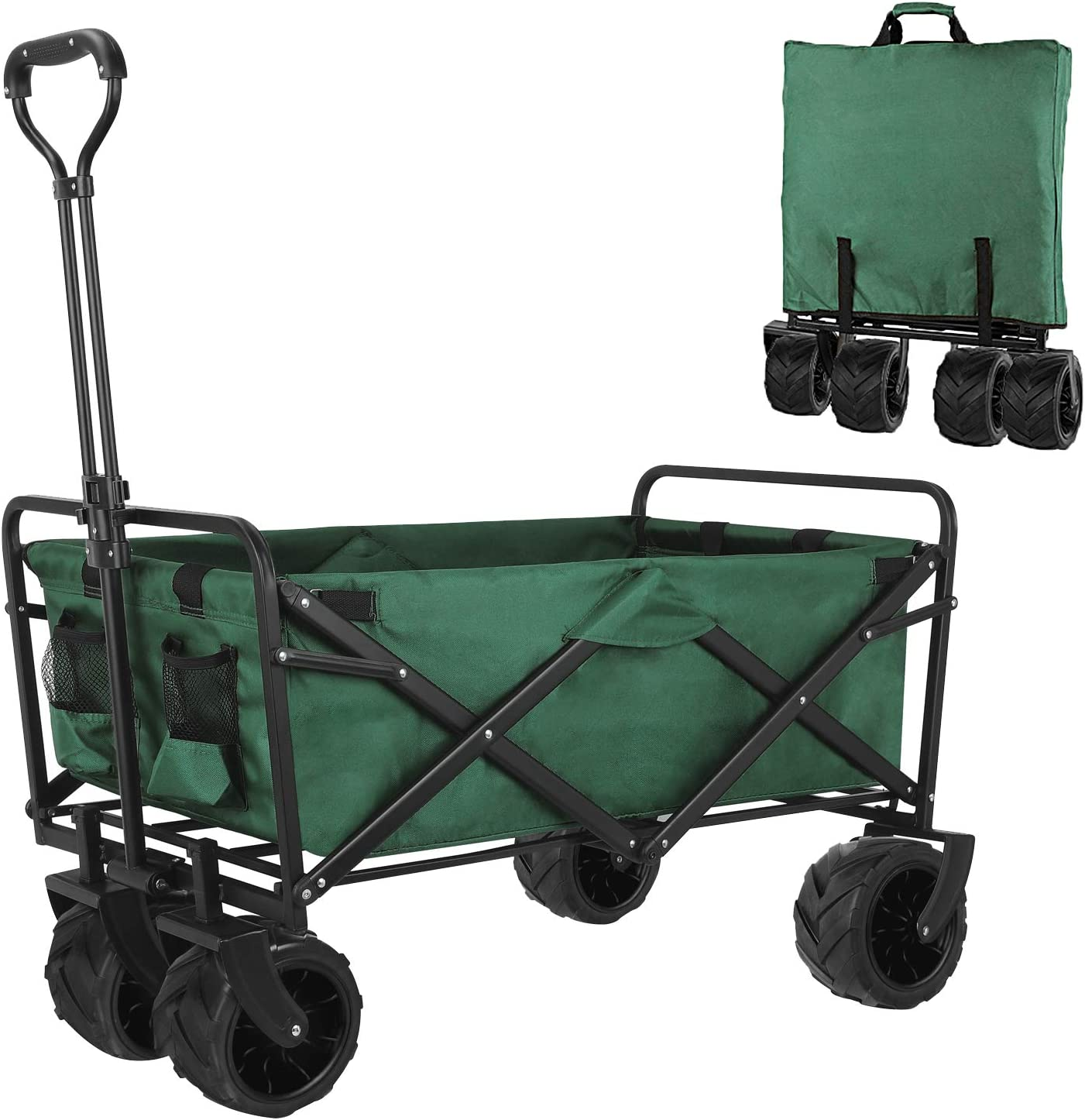 femor Folding Collapsible Outdoor Utility Wagon Cart, Heavy Duty Garden Cart with All-Terrain Wheels and Carrying Bag for Shopping, Beach, Yard (Green)