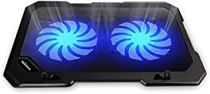 TopMate C302 10-15.6 Laptop Cooler Cooling Pad | Ultra Slim Portable 2 Quiet Big Fans 1300RPM with USB Line Built in | Simple and Easy Use Design