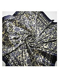 GOOTRADES Women's Big Square Scarf Imitated Silk Satin Kerchief Headcloth 90x90cm (C)