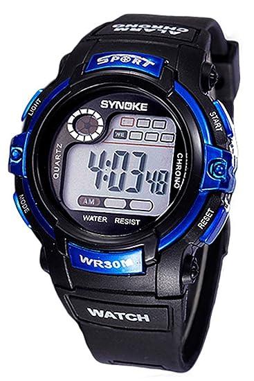 da87e45da5a9 Reloj de nino - SYNOKE Reloj de pulsera de Fecha Dia Alarma de multifuncion  Azul  Amazon.es  Relojes
