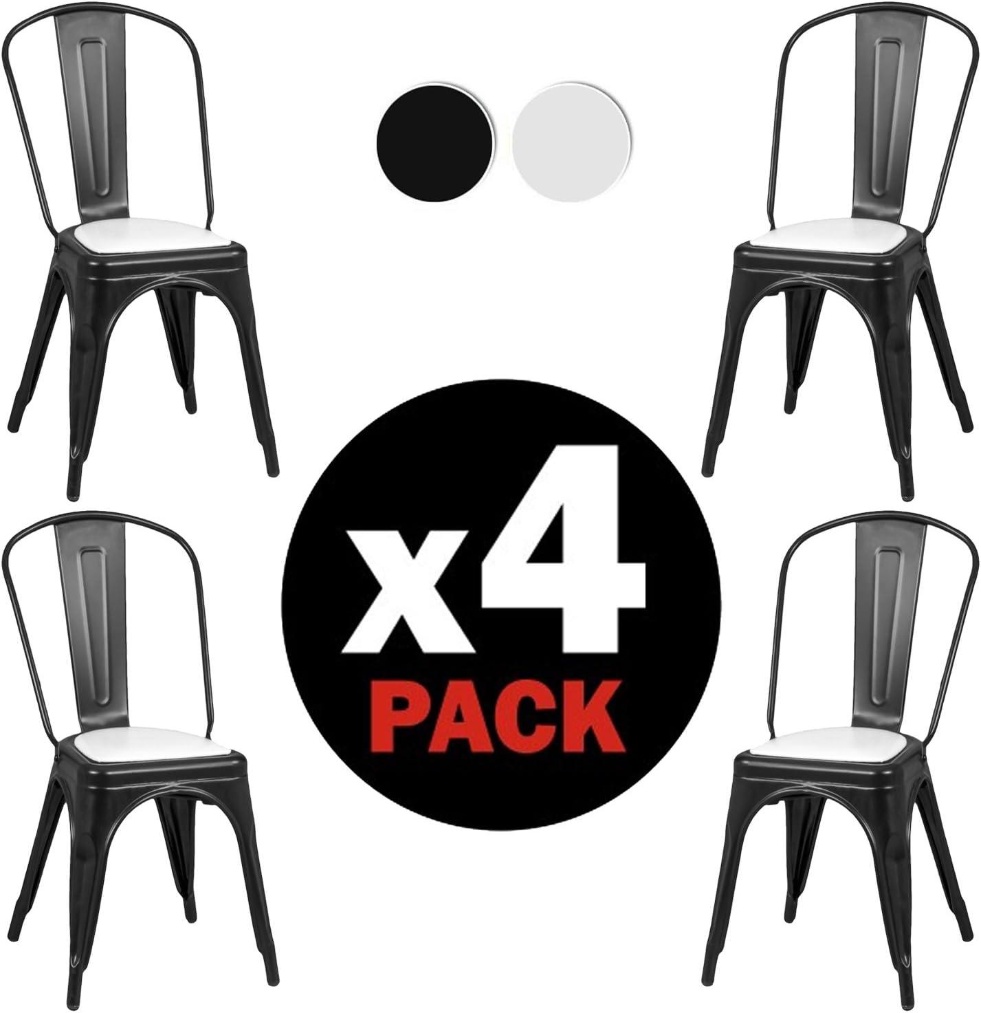 Due-Home - Pack 4 sillas Replica Tolix, Estructura Metalica Color Negro Mate, Medidas: 46,5 cm (Ancho) x 84 cm (Alto) x 52,2 cm (Fondo).: Amazon.es: Hogar