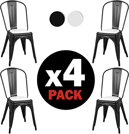 Due-Home - Pack 4 sillas Replica Tolix, Estructura Metalica Color ...