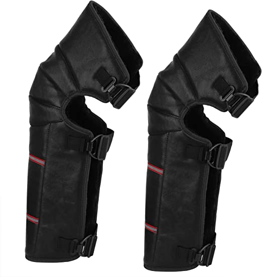 PU Leather Windproof Motorcycle Leg Warmer Knee Pad Thick Plush Knee Protective Guard Winter Windproof Long Knee Brace Support Adjustable Motocross Bike Bicycle Riding Warmer Kneepad Leggings Cover