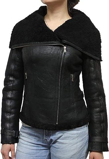 Mesdames femmes cuir véritable veste noire trench coat neuf biker rock montés