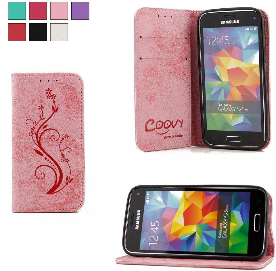 COOVY® Funda para Samsung Galaxy S5 Mini SM-G800 SM-G800H/DS DUOS Billetera, Ranuras para Tarjetas, Cierre magnético, Soporte, Protectora de Pantalla | Flower | Color Rosa Claro: Amazon.es: Electrónica