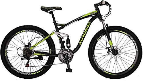 OBK E7 Mountain Bike 21 Speed Bicycle 27.5 Full Suspension Mens Bikes Daul Disc Brakes MTB Yellow