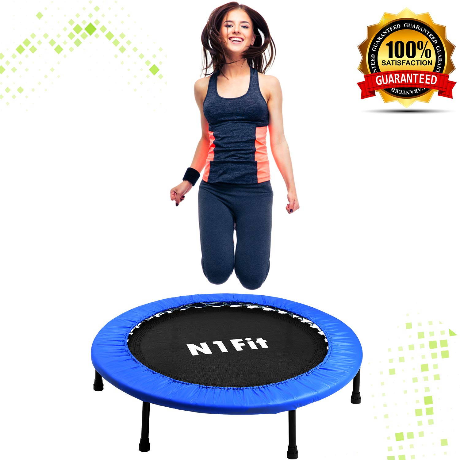 N1Fit Mini Trampoline for Adults - Exercise Trampoline, Mini Trampolines, Personal Trampoline, Trampoline Small Indoor, Rebounding Tiny Trampoline with Springs System for Home Cardio Workouts 40'' by N1Fit (Image #9)