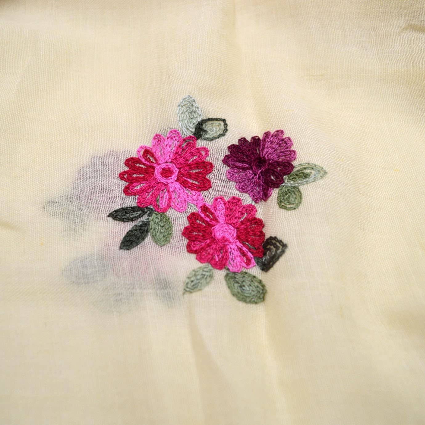 Monique Women Floral Embroidery Scarf Spring Autumn Long Scarf Summer Beach Shawl Wrap