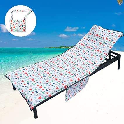 YOULERBU Thickened Beach Chair Pool Towels, Swimming Pool Chaise Lounge  Cover Towels with Pillow and Side Pockets Holidays Sunbathing Quick Drying  ...