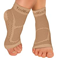TechWare Pro Ankle Brace Compression Sleeve - Relieves Achilles Tendonitis, Joint Pain. Plantar Fasciitis Foot Sock with…