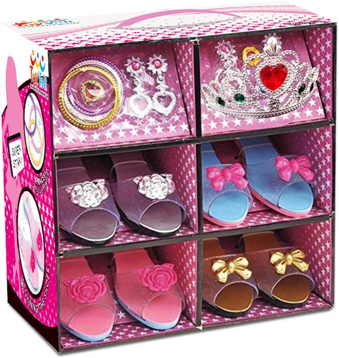 Vístase como una princesa con una boutique de zapatos y joyas de juguete (incluye 4 pares de zapatos y varios accesorios de moda) - Este conjunto de joyas es el mejor regalo para niñas de 2 a 10 años