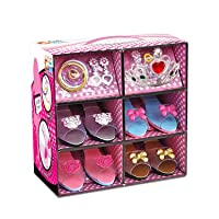 ToyVelt Princess Dress Up & Play Shoe and Jewelry Boutique (Includes 4 Pairs of...