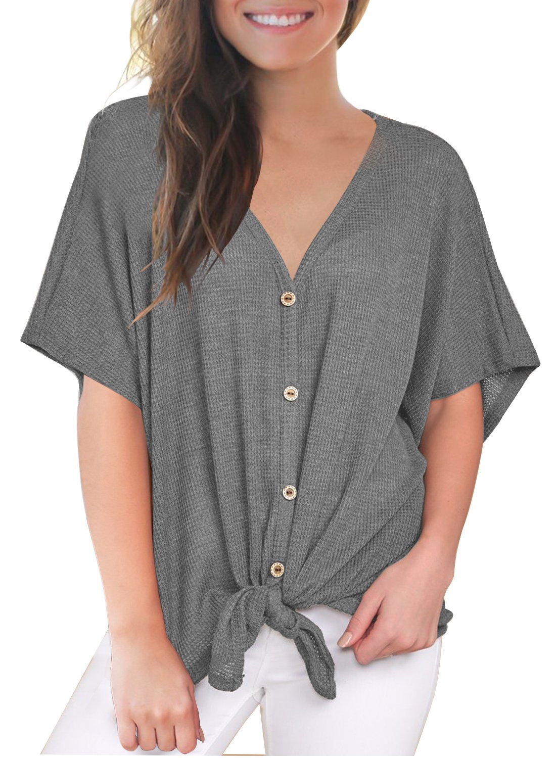 MIHOLL Womens Loose Blouse Short Sleeve V Neck Button Down T Shirts Tie Front Knot Casual Tops (Small, P- Dark Grey)