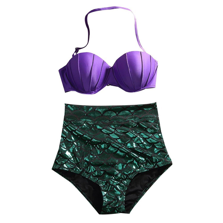 Moore Womens High Waist Glitter Mermaid Swimsuit 2PCS Bikini Set Push up Swimwear Purple) 00_BTIML7M6_SD