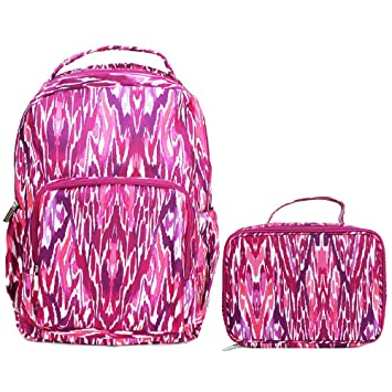 Watercolor Tribal Fuchsia Reinforced and Water Resistant Backpack and Lunch Bag Tote 2 Piece Set