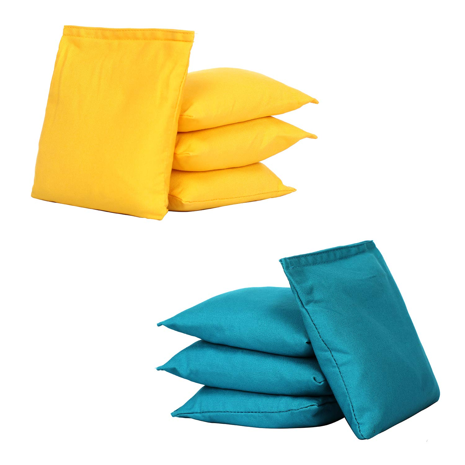 UKASE Durable Corn Hole Bags Set of 8 Regulation Cornhole Bean Bags Light Blue and Yellow