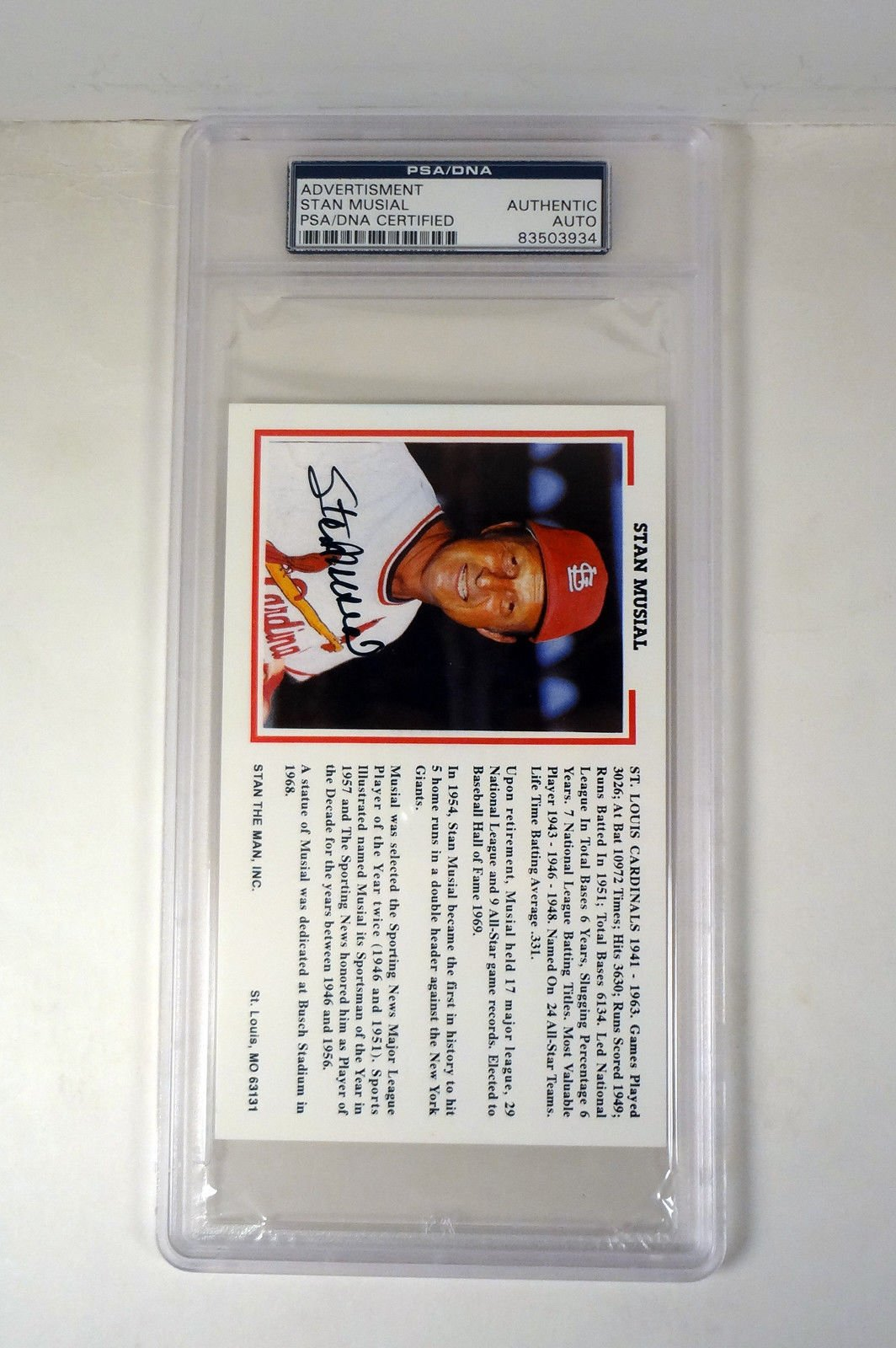 Stan Musial Autographed Signed Autograph Stan The Man Postcard PSA/DNA Slabbed Coa #83503934