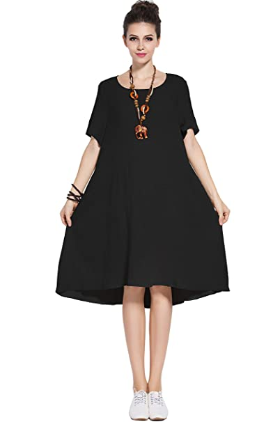 Anysize Fresh Spring Summer Linen Cotton Dress Plus Size Clothing Y74