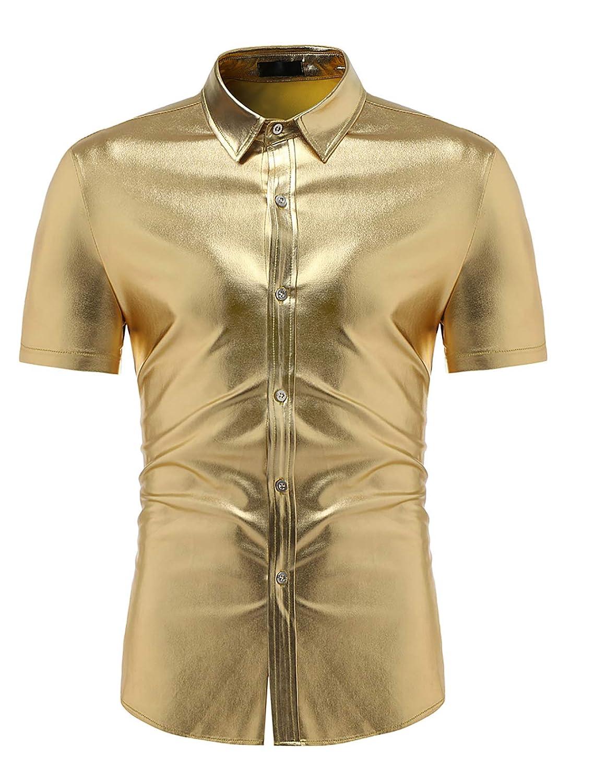 VSVO Mens Metallic Shiny Nightclub Slim Fit Short Sleeve Button Down Party Shirts