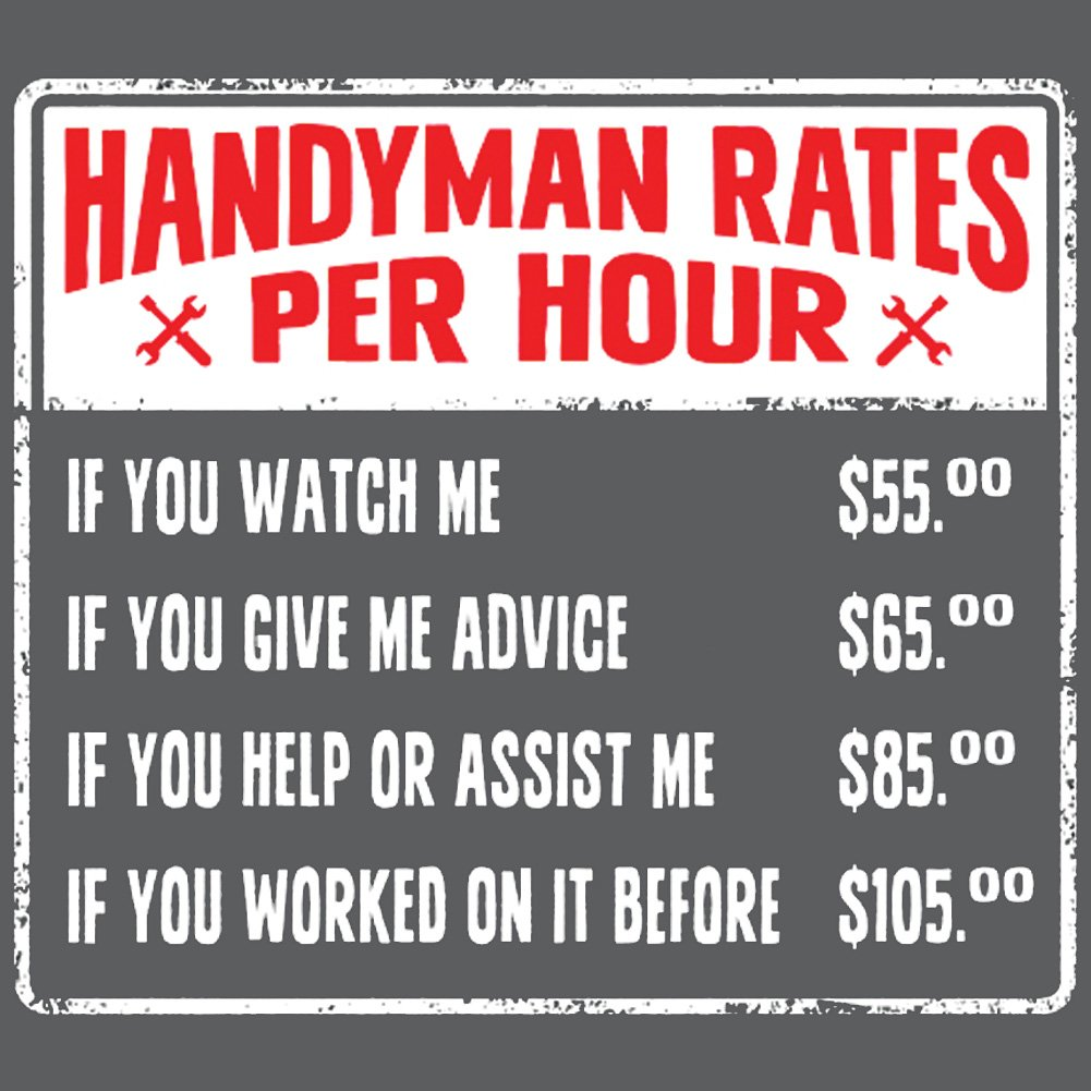 Amazon com: CloseoutZone Handyman Rates Vary Per Hour Gray T-Shirt