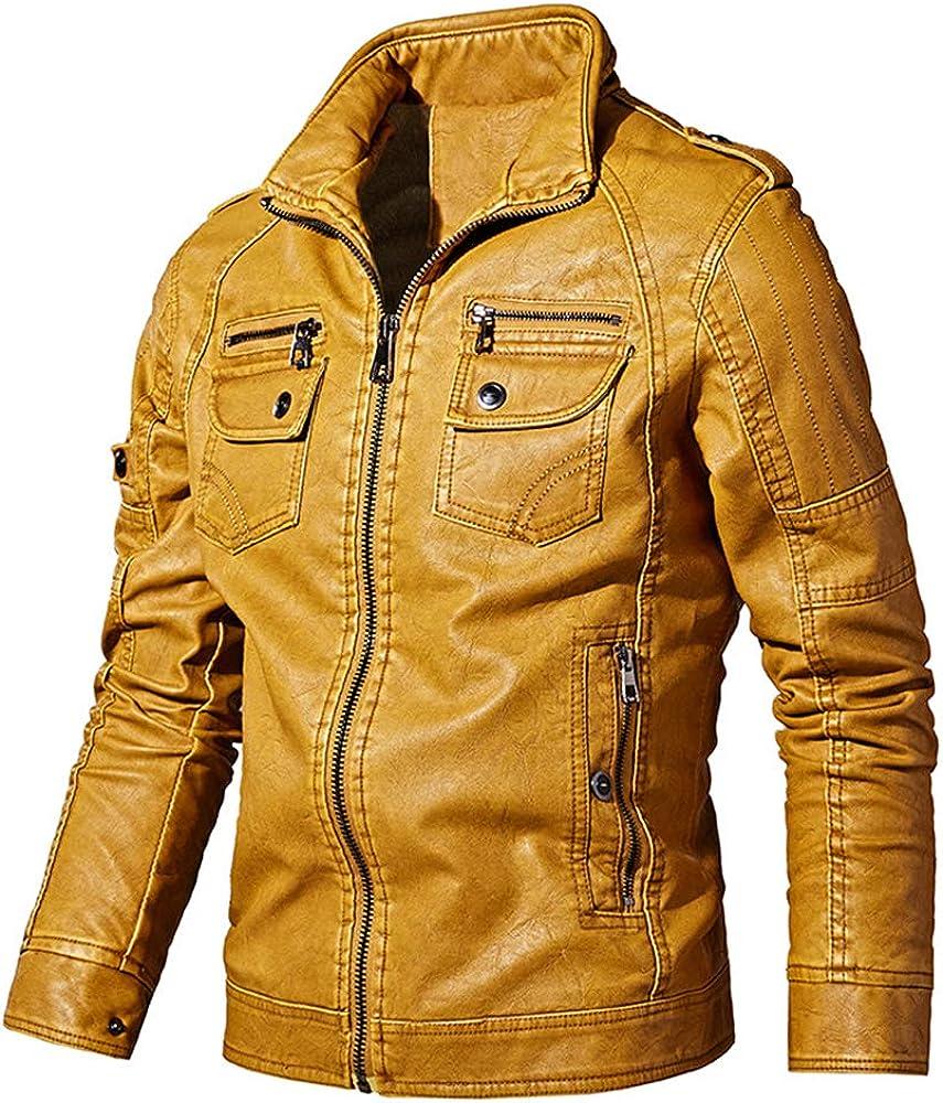 qulvyushangmaobu Chaqueta de Cuero de imitación para Hombre con Capucha extraíble Chaqueta Cortavientos de Motorista Slim Fit Moto Chaqueta de Cuero para Moto de Cuero para Hombre Negro