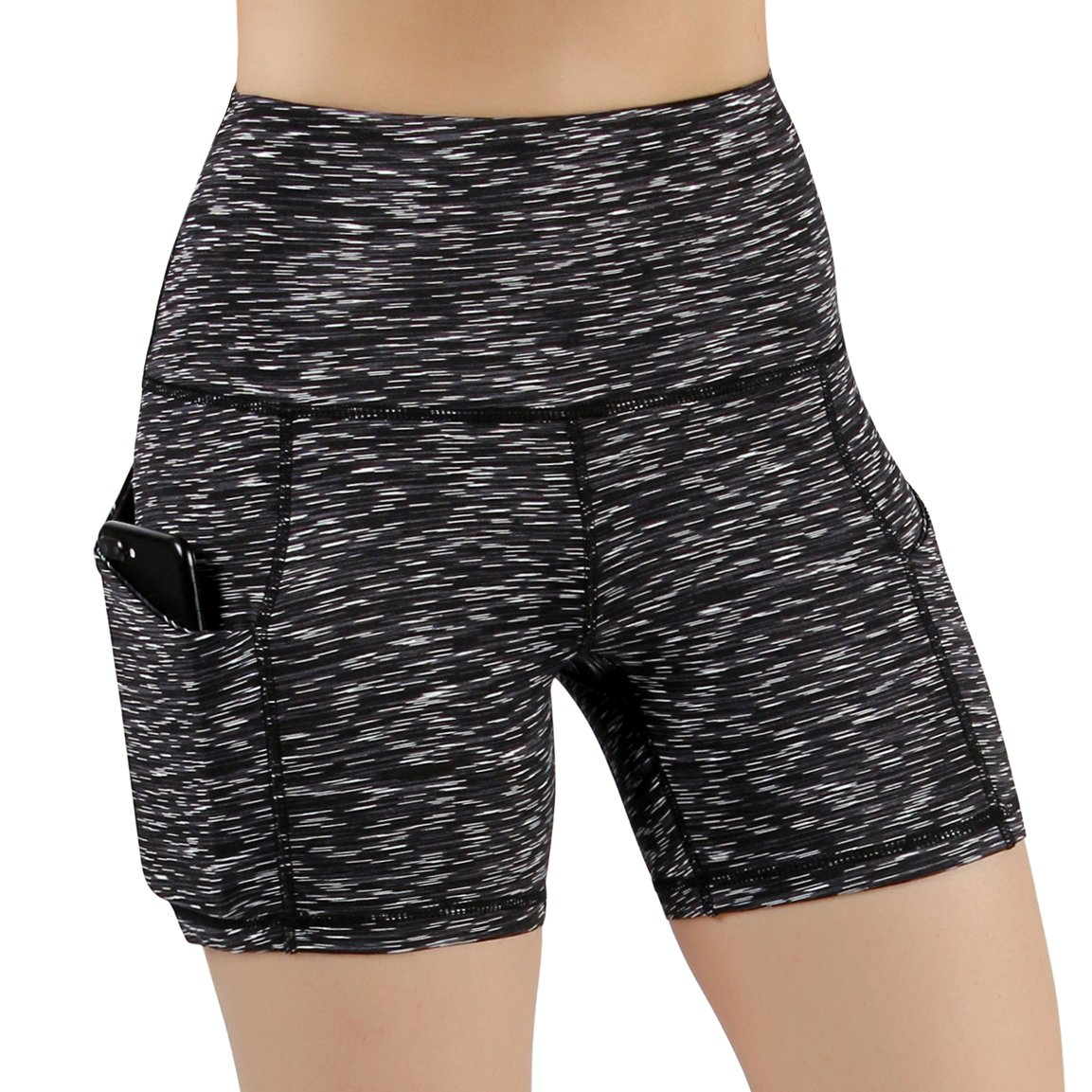 ODODOS High Waist Out Pocket Yoga Short Tummy Control Workout Running Athletic Non See-Through Yoga Shorts,SpaceDyeMattBlack,Large by ODODOS