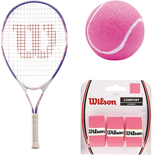 Wilson Serena Williams Girl's Pre-Strung Junior Tennis Racquet Starter Set or Kit Bundled with 3 Pink Tennis Balls and 3-Pack of Pink Overgrips Best Junior Racket for Kids Ages 3-10