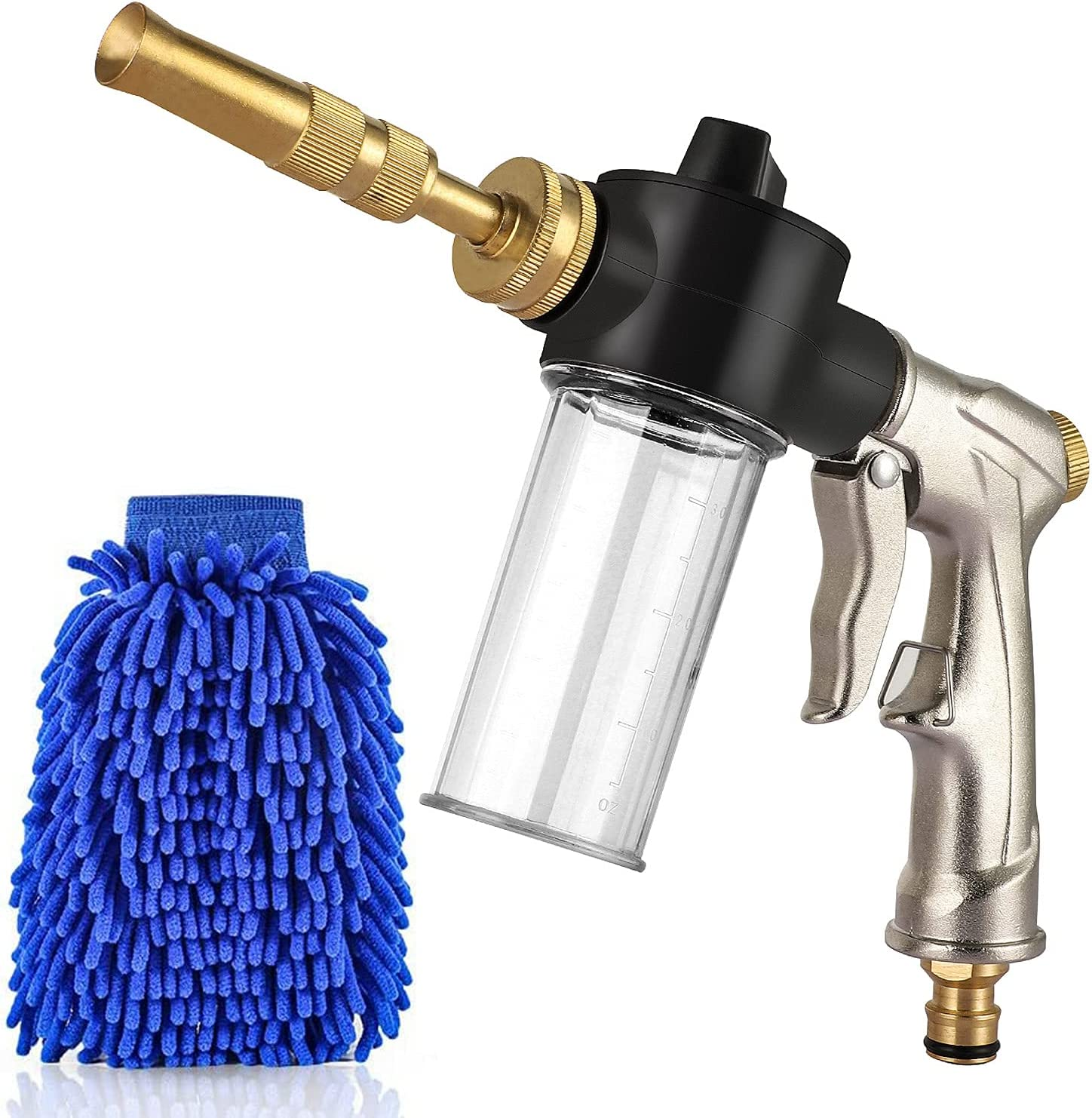YeYouC Car Wash Foam Gun, Deluxe Car Wash Sprayer Garden Hose Spray Nozzle with 100cc Bottle, 3 Spray Patterns Foam Blaster for Car Washing, Plants Watering and Pets Showering