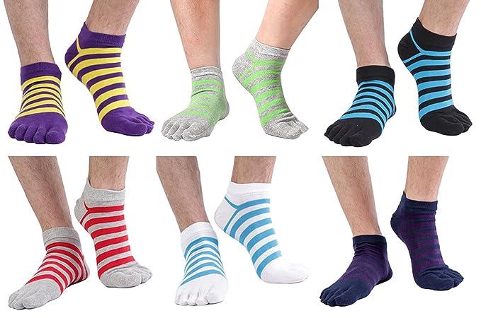 6df34abf32cbe Men 6 Pack Cotton Five Finger Toe Socks Separator Running Athletic ...