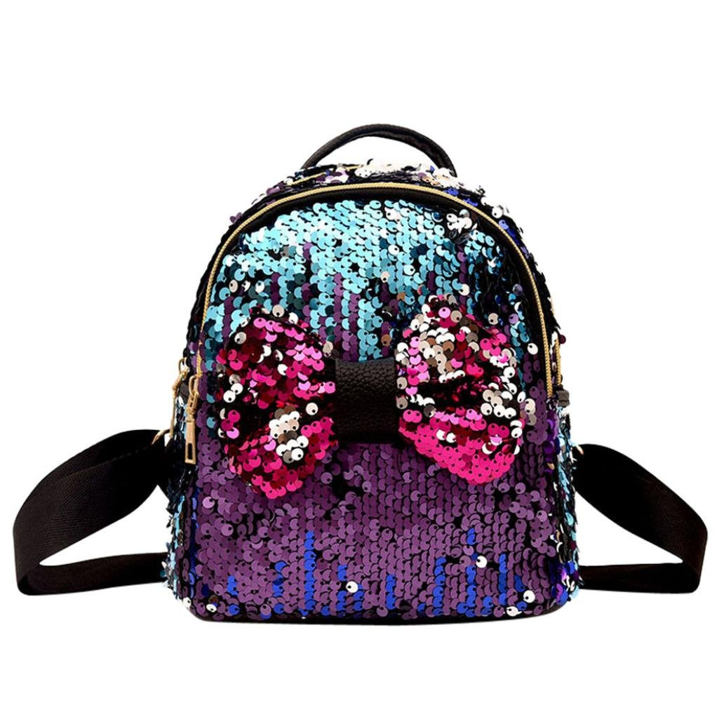 Amazon.com: Moda Niña Squins pajarita bolso de escuela ...