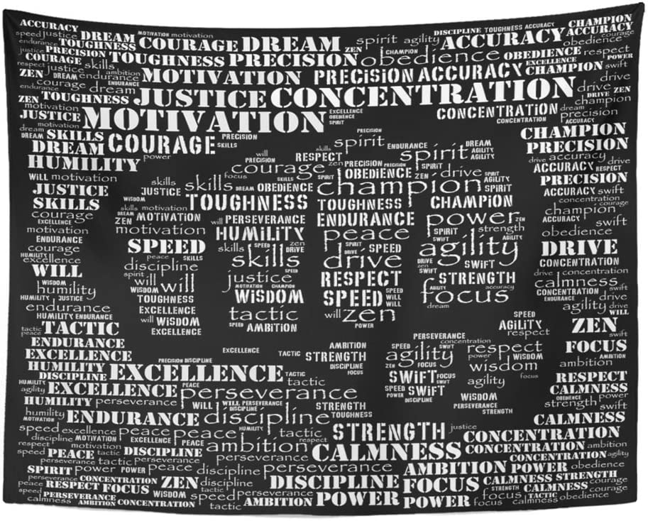 Emvency Tapestry Print 60x80 Inches Motivation Essence of Fighter Gym Word Kickboxing Athlete Karate Dedication Wall Hangings Home Decor