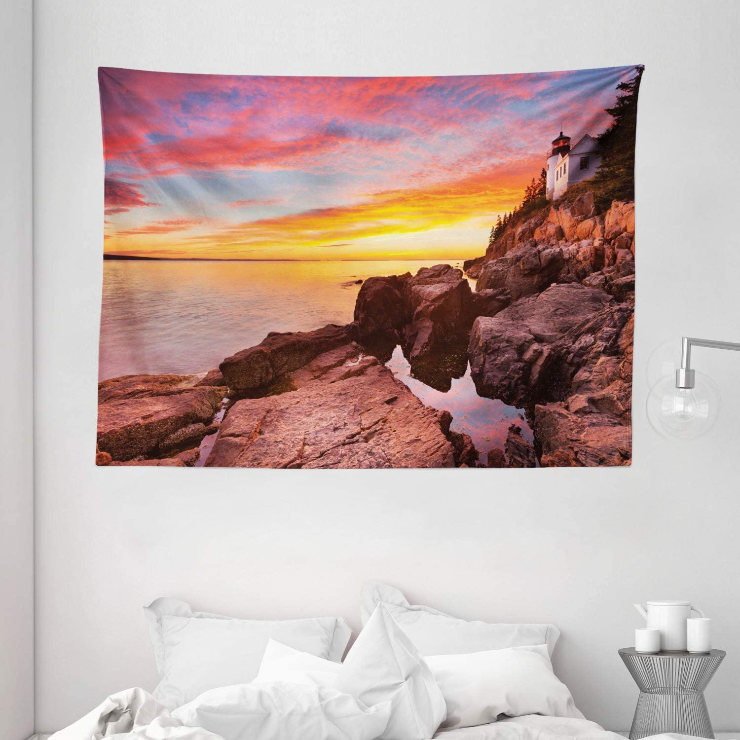 Ambesonne National Parks Home Decor Tapestry, Lighthouse on The Harbor Sea Shore with Horizon Sky New England Design, Wall Hanging for Bedroom Living Room Dorm, 80 W X 60 L Inches, Multi