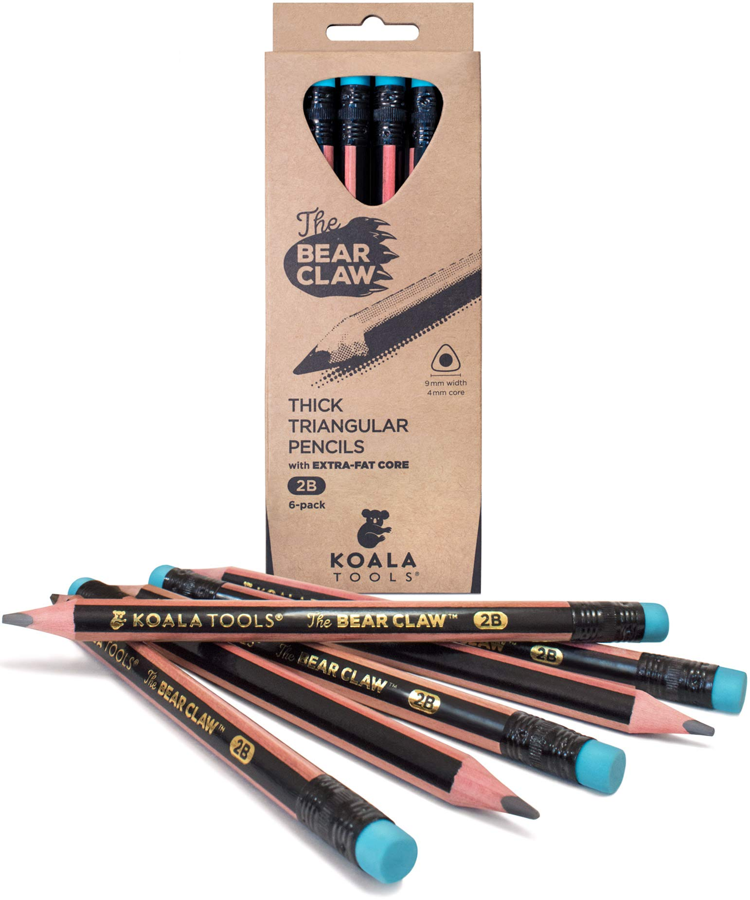 Koala Tools | Bear Claw Pencils (pack of 6) - Fat, Thick, Strong, Triangular Grip, Graphite, 2B Lead with Eraser - Suitable for Kids, Art, Drawing, Drafting, Sketching & Shading by Koala Tools