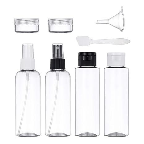 Conjunto De Botellas De Viaje, Plástico Vacío a Prueba De Fugas Envases De Líquidos Transparentes