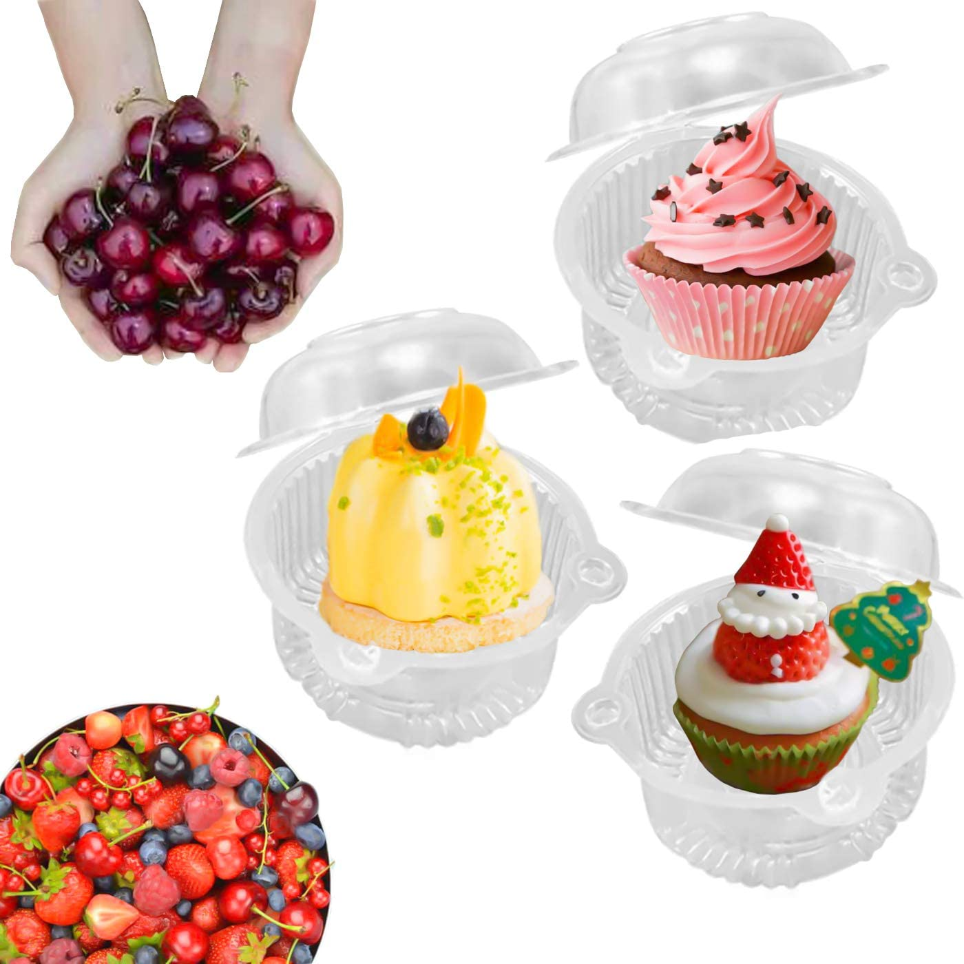 MotBach 100 Pcs Clear CupCake Holder Plastic Individual Cupcake Case Single CupCake Dome Holders Boxes Cups with Lids