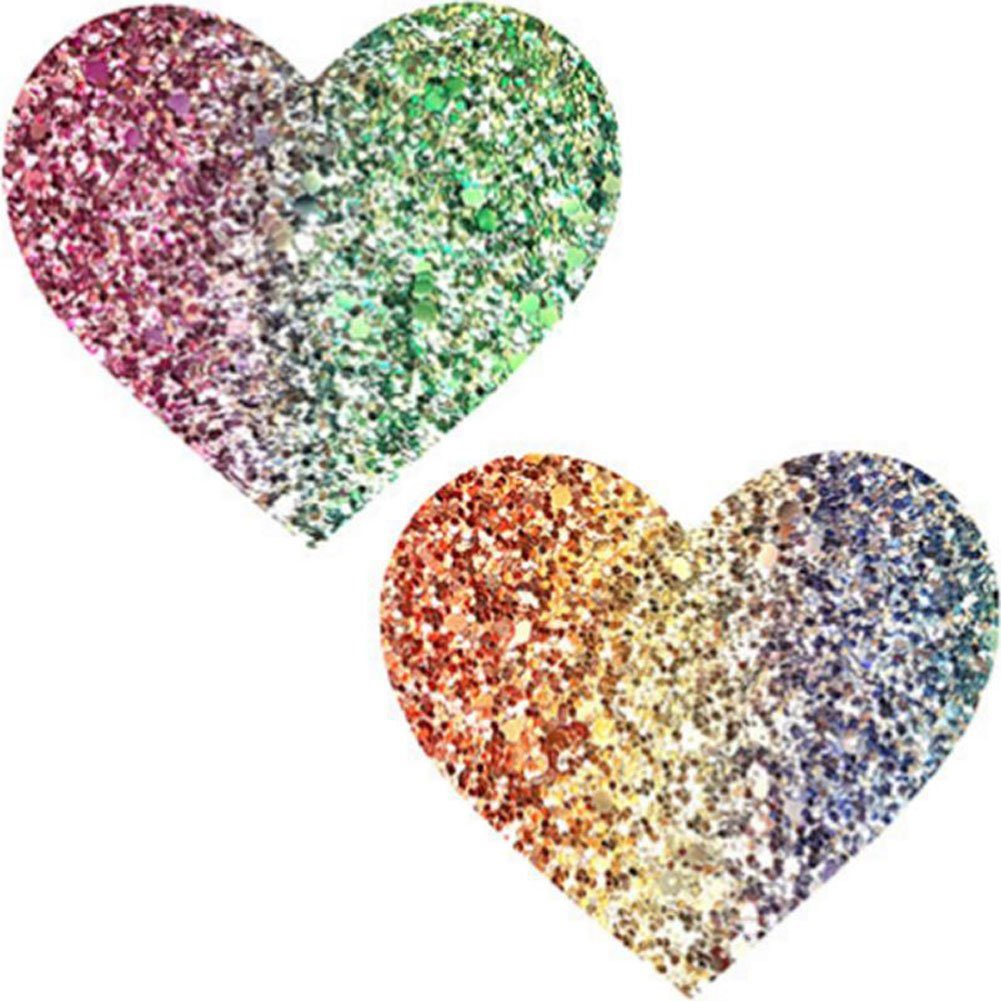 Neva Nude Super Sparkle Rock Kandi Glitter I Heart U Nipztix Pasties Nipple Covers