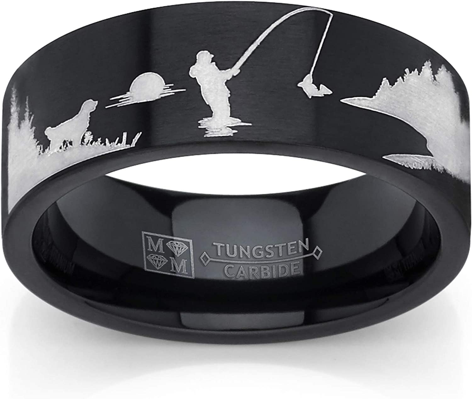 Metal Masters Co. Men's Black Tungsten Trout Lake Fly Fishing Enthusiasts Ring, Outdoor Scenery Band 8mm