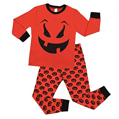 CharmLeaks Boys Halloween Pajama Kids Cotton Pyjamas Set Long Sleeve  Sleepwear Halloween Costume 5 66d9be0de