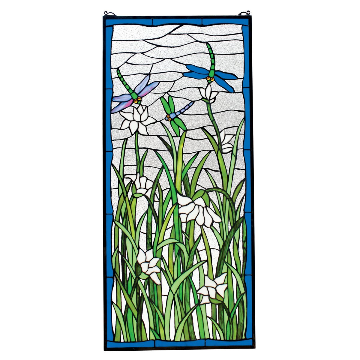 Stained Glass Panel - Dragonflies Dance Dragonfly Stained Glass Window Hangings - Window Treatments