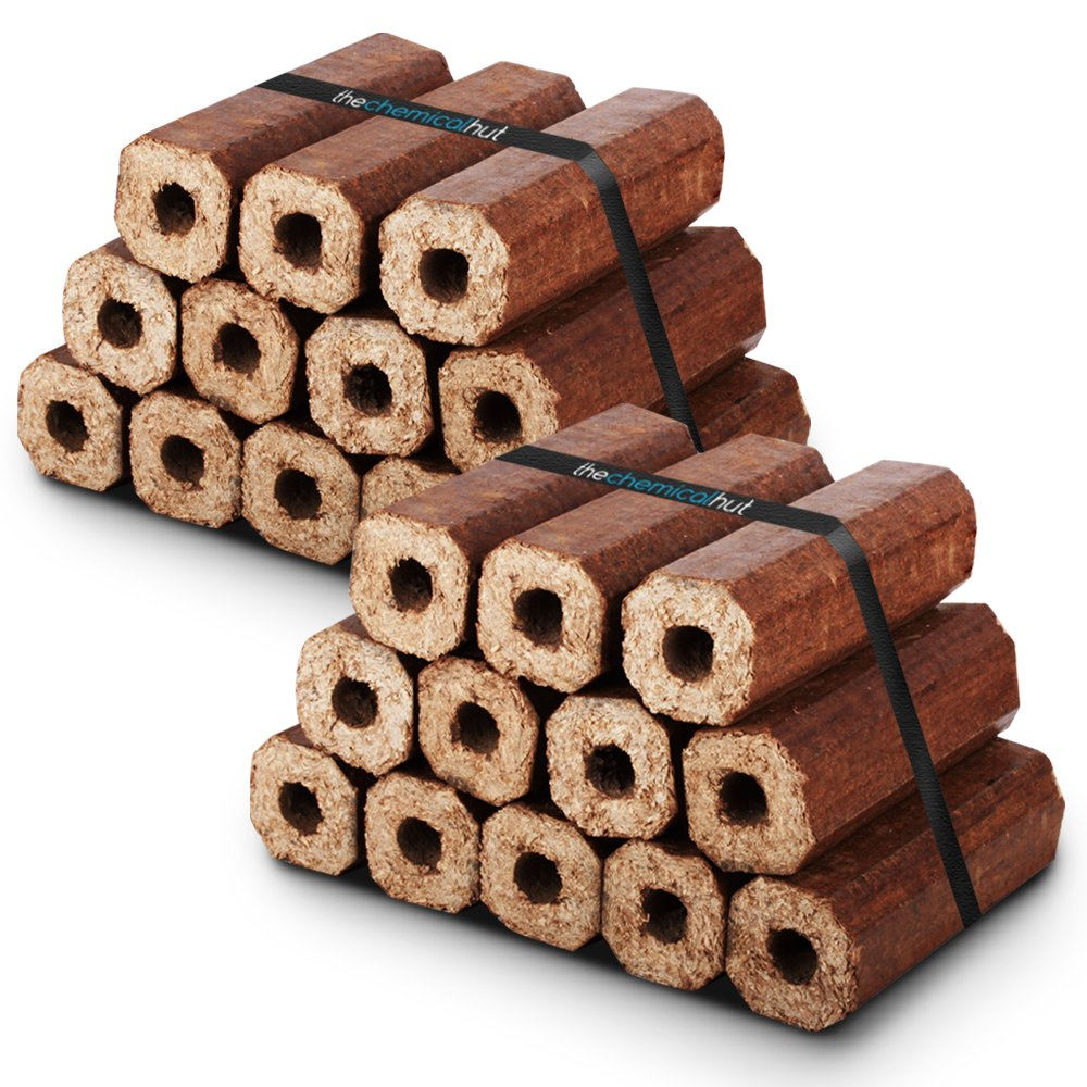 Comes with The Log Hut Woven Sack. Fuel for Firewood,Open Fires X24 Premium Eco Wooden Heat Logs Pack Stoves and Log Burners
